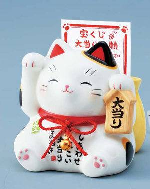 Japanese Good-Luck Okimono Manekineko (welcoming cat) Figurine