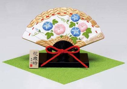 Japanese Fan-Shaped Okimono Figurine