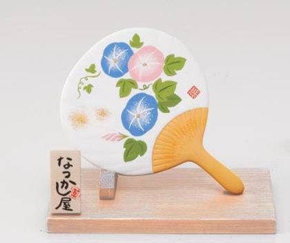 Japanese Fan-Shaped Okimono Figurine