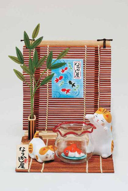 Cat Family Having Fun in Summer Japanese Okimono Figurine