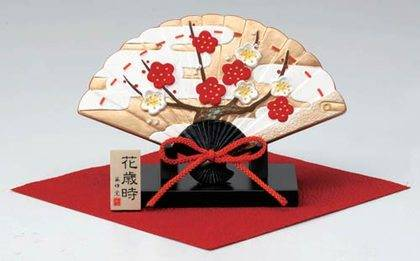 Fan-Shaped Okimono Japanese Blooming Plum