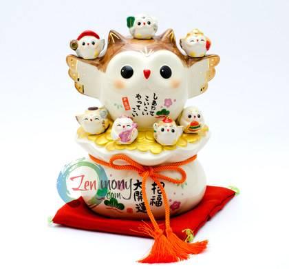 Okimono Good-Luck Owl and Seven Owl Deities of Happiness_0