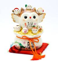 Okimono Good-Luck Owl and Seven Owl Deities of Happiness_1